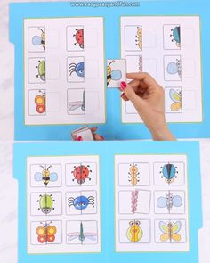 Match the bug halves in this fun bugs matching file folder game. Perfect game for toddlers, preschoolers and even kids in kindergarten with focus on visual discrimination. toddlers and preschoolers Printable Bugs Matching File Folder Game Preschool Learning Activities, Preschool Worksheets, Infant Activities, Preschool Activities, Teaching Kids, Learning For Toddlers, Folder Games For Toddlers, Matching Games For Toddlers, Preschool Centers