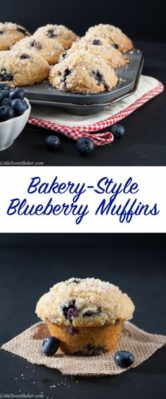 Bakery Style Blueberry Muffins A buttery, soft and fluffy muffin that's loaded with juicy blueberries and topped with a crunchy sweet cinnamon streusel on a sky-high muffin top. Blueberry Streusel Muffins, Blue Berry Muffins, Cinnamon Muffins, Blueberries Muffins, Blueberry Muffin Recipes, Bakery Style Blueberry Muffin Recipe, Huckleberry Recipes Muffins, Recipes With Blueberries, Frozen Blueberry Recipes