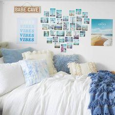Blue Room Decor, Cute Bedroom Decor, Teen Room Decor, Room Ideas Bedroom, Bedroom Themes, Bedroom Wall, Beachy Room Decor, Cute Wall Decor, Bedroom Storage