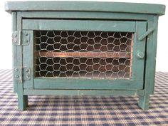 Primitive rustic little green pie safe  Chicken Coop Wire