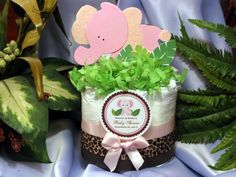 PINK ELEPHANT JUNGLE Safari Diaper Cake Centerpiece - baby shower favors - http://www.babyshower-decorations.com/pink-elephant-jungle-safari-diaper-cake-centerpiece-baby-shower-favors.html