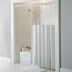 SneakPeek Solid Color w/ Clear Vinyl Shower Curtain   Overstock.com Shopping - The Best Deals on Shower Curtains