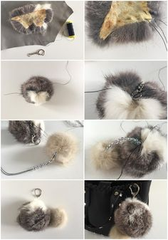 23 Clever DIY Christmas Decoration Ideas By Crafty Panda Fur Purse, Fur Bag, How To Make A Pom Pom, Leather Workshop, Fur Accessories, Faux Fur Pom Pom, Fake Fur, Ribbon Work, Diy Embroidery