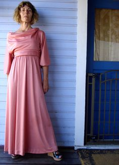 Vintage 1970s Maxi Dress Pink Disco Dress 2012d by bycinbyhand, $45.00