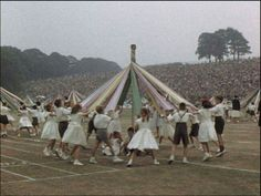 Yep, we did this at school. Children dancing around a maypole at Leeds Children's Day, © Yorkshire Film Archive Yorkshire England, West Yorkshire, Good Old Days Magazine, Leeds Castle, Leeds City, Film Archive, My Town, Vintage Photographs, Old Pictures