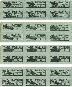 WW II Ration Stamps issued by the U.S. Government to purchase food, petrol and other household goods during the duration course of war.