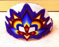 TALL HAND CRAFTED CUT BEADED GEOMETRIC DES.NATIVE AMERICAN INDIAN PRINCESS CROWN