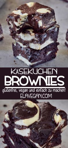 Vegan cheesecake brownies which are moist, fudgy, chocolatey, gooey and yummy. This dessert is gluten-free and can be made refined sugar-free. Best Vegan Desserts, Vegan Treats, Healthy Dessert Recipes, Gluten Free Desserts, Baking Recipes, Whole Food Recipes, Egg Recipes, Free Recipes, Pizza Recipes