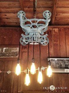 Edison Bulb Barn Trolley Chandelier by Ike & Annie, via Flickr