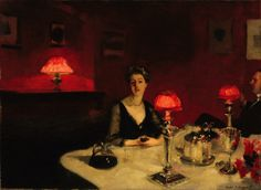 John Singer Sargent: Le verre de porto (A Dinner Table at Night). 1884.