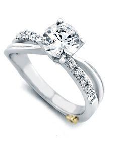 """Mark Schneider Split Shank Twist Diamond """"Surge"""" Engagement Ring · 17160 · Ben Garelick Jewelers"""