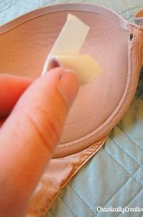Use pieces of moleskin to fix a protruding underwire.   25 Ingenious Clothing Hacks Everyone Should Know