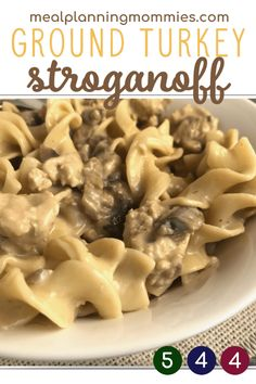 The BEST Ground Turkey Stroganoff recipe Uses beef gravy sour cream ground turkey red cooking wine mushrooms and egg noodles So good And just 4 WW FreeStyle SmartPoints p.