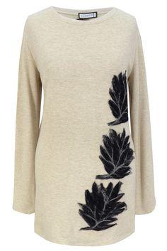 Aldona sweter filc liście ecru / Aldona sweater felt leaves ecru #cosy #warm #sweater #ecru #autmn