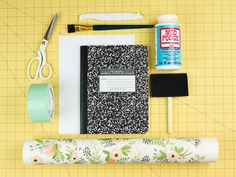 A DIY journal can be super stylish! Plus, it's a great option when a fancy designer journal isn't in the budget. I'll show you how to completely transform an ordinary composition notebook! Composition Notebook Journal, Altered Composition Books, Altered Books, Diy Arts And Crafts, Handmade Crafts, Handmade Rugs, Diy Crafts, Diy Paper, Paper Crafts
