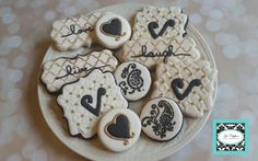 Black, white and gold, glamour cookies