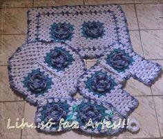 Jogo tapetes crochê para banheiro 4 pçs