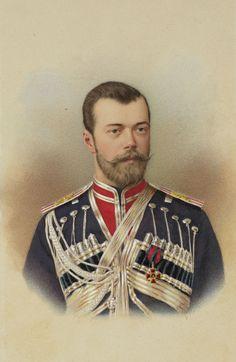 Fotografia colorida a mão de Nicolau II, Imperador da Rússia. Ele está olhando para a câmera e vestindo uniforme militar. A fotografia é colorida com azuis ricos, vermelhos e amarelos.