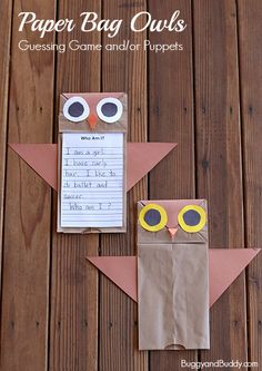Fall Craft for Kids using paper lunch bags: Owl Craft and Writing Activity- Perfect getting to know you activity for back to school and makes a cute fall bulletin board decoration too! Can also be used as owl paper bag puppets! Owl Crafts Kids, Fall Crafts For Kids, Animal Crafts, Preschool Crafts, Fun Crafts, Art For Kids, Craft Kids, Preschool Christmas, Kid Art