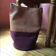 HP Best In Bags 11/16 Free People Bucket Bag Host Pick Nest In Bags 11/16/15 !!  Vegan Leather, two-tone, color block bag with  magnetic closure, and round, flat bottom. Becomes slouchy with use. Bottom crease (pic 4) is from Free People packaging and cannot be seen when carried. It is not damage or a defect. Colors: tan, brown, & shades of coffee. If you have questions, please ask. Free People Bags Shoulder Bags