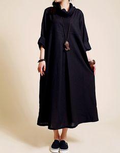 Linen loose fitting long dress women long sleeved robe by MaLieb