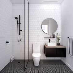 I call this LUST. Call it basic, call it simple but don't underestimate the power of Black in the bathroom. If I were another bathroom I'd want to date YOU. @fieldwork_architects creating dream apartment bathrooms in our curated elements: monochrome & minimalist.