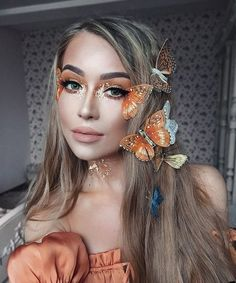 art, hair, and girls image Cute Halloween Makeup, Halloween Makeup Looks, Halloween Outfits, Pretty Halloween Costumes, Butterfly Halloween, Butterfly Makeup, Fairy Makeup, Fairy Fantasy Makeup, Fairy Costume Makeup