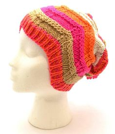 Winter SO Women Slouch Beanie Orange Pink Brown White Zigzag Wave Knit 3521