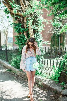 How to style a denim skirt for spring / Affordable Spring Outfit Idea via Glitter & Gingham