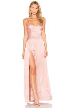 Michelle Mason Bustier Gown in Dark Blush
