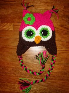 Crochet Hoot Owl Hat Pink with Green Flower