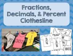 This is a fun way to practice placing fractions, decimals, and percentages on a number line! Students will practice this skill by hanging up some laundry to dry.   Practice with just one of the skills at a time, or add rigor by mixing the laundry up!  Perfect for a guided or an independent math center for your math workshop! 4th Grade Fractions, Fifth Grade Math, Sixth Grade, Fourth Grade, Second Grade, Math Classroom, Kindergarten Math, Teaching Math, Maths