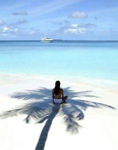 Urlaubsfoto vom Strand mit Palmen.