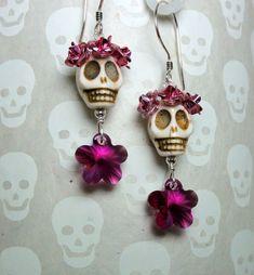 Dia de los Muertos Pink Flowers and White Skull Earrings