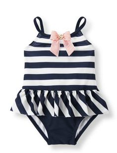 New Baby Girl Gifts:  Infant Nautical Charm One-Piece Swim Striped Bathing Suit @ Janie and Jack