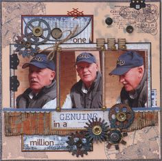 Great masculine scrapbook page. Heritage Scrapbook Pages, Vintage Scrapbook, Scrapbook Cards, Scrapbook Layout Sketches, Scrapbook Designs, Scrapbooking Layouts, Photo Layouts, Album Photo, Paper Bows