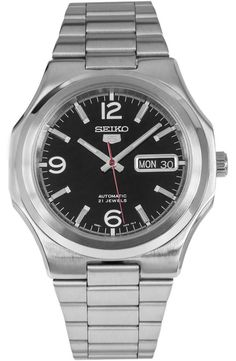 Seiko 5 SNKK59 Mens Stainless Steel Black Dial Day Date Automatic Watch