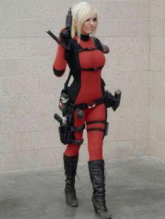 Lady Deadpool Cosplay by Jessica Nigri Lady Deadpool, Deadpool Cosplay, Superhero Cosplay, Marvel Cosplay, Female Deadpool, Anime Cosplay Costumes, Cosplay Girls, Jessica Nigri Cosplay, Geek Girls
