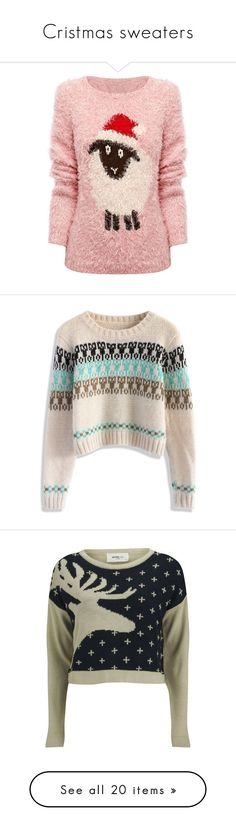 """""""Cristmas sweaters"""" by gloriadeym on Polyvore featuring tops, sweaters, shirts, christmas, pink sequin sweater, xmas sweaters, pink jumper, shirt sweater, christmas shirts и crop tops"""