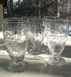 Set of Six Vintage Antique Crystal Etched Wine by sheriscrystals, $54.95