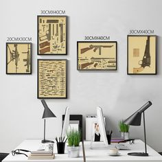 Wall Stickers Romantic High Quality 100% Xq-043 Vintage Kraft Paper the Gun Show Home Decor Wall Art Craft Sticker Painting For Kids Rooms 42x30 Cm