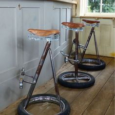 Industrial Bar Stools * Retro * Rustic * Vintage * Commercial * Home Recycled Decor, Recycled Furniture, Metal Furniture, Furniture Design, Luxury Furniture, Furniture Ideas, Modern Furniture, Vintage Bar Stools, Industrial Bar Stools