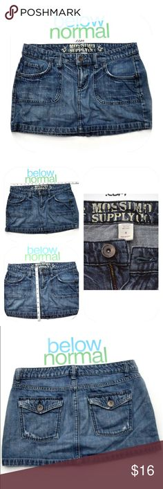 """Mossimo Supply Co Blue Jean Mini Skirt Mossimo Supply Co Size 9 Blue Jean Skirt Casual Sexy Cute Mini Measures approx 16"""" while laying flat across waist Condition: Good condition, ready to be re-homed! Please see photos for the exact item you will receive. Thank you for looking! Mossimo Supply Co Skirts Mini"""