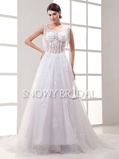 White A-Line Long Beaded Tulle Square With Straps Corset Wedding Dress - US$ 208.99 - Style W0637 - Snowy Bridal
