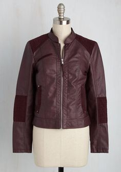 Put Routes Down Jacket. You feel at home wherever you are in this faux-leather jacket! #red #modcloth