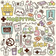 Drawing Doodles Ideas Wall Mural - Vinyl Cute Doodle Hospital - Destinations - Cute Doodle Hospital Wall Mural ✓ Easy Installation ✓ 365 Day Money Back Guarantee ✓ Browse other patterns from this collection! Doodle Drawings, Doodle Art, Easy Drawings, Chalk Drawings, Bullet Journal Ideas Pages, Bullet Journal Inspiration, Nurse Drawing, Bujo Doodles, Kawaii Doodles