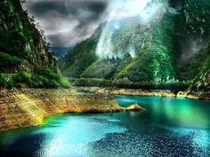 Piva Canyon, Montenegro -  a river in Montenegro and Bosnia and Herzegovina, shorter headwater of the Drina river, which it forms with the Tara river on the border with Bosnia and Herzegovina.