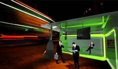 The Rubix Bus Shelter designed by A. Ashurov is a very modern sustainable solution for a city bus stop. Having solar panels on the roof, it utilizes renewable energy from the sun. Ambient green LED lighting makes the bus shelter look futuristic at night.