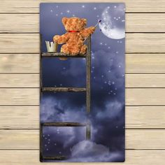 Teddy Bear Sitting On Ladder Painting Night Sky Microfiber Bath Towels, #Bath #Bear #Ladder #Microfiber #night #nightskypaintingacrylic #nightskypaintingeasy #nightskypaintingeasystepbystep #nightskypaintingtutorial #nightskypaintingwatercolor #painting #sitting #sky #starrynightskypainting #Teddy #Towels Spa Towels, Bathroom Towels, Hand Towels, Microfiber Bath Towels, Night Sky Painting, Body Shower, Beach Night, Shower Towel, Face Towel