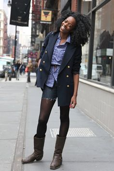 tights and mid-height boots